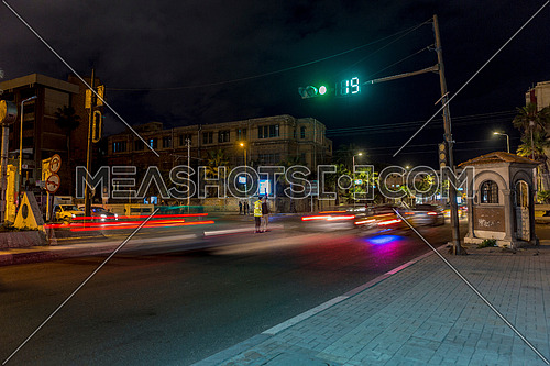 Long shot for traffic at Alexandria at night