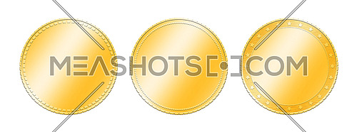 Close up three different golden metal blank coins template or award achievement badges isolated on white background