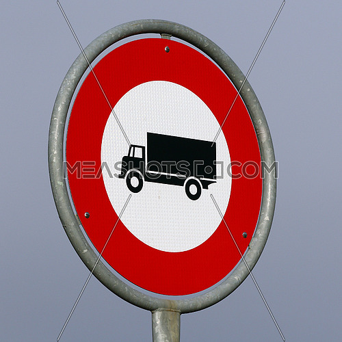 No trucks allowed road sign