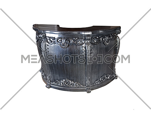 black finely carved black wood desk isolated on white