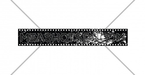 Close up old vintage grunge retro styled classical 35 mm negative film strip isolated on white background