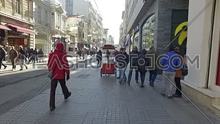 ISTANBUL, TURKEY - JANUARY 23: Old part of Istanbul, streets with shops on Jauary 23, 2016 in Istanbul.