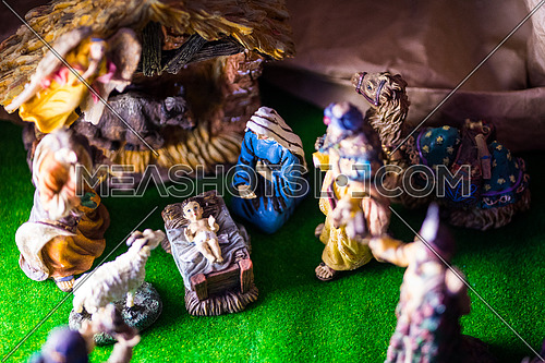 Traditional Coptic Christmas Creche top view with all Characters Animals and theme
