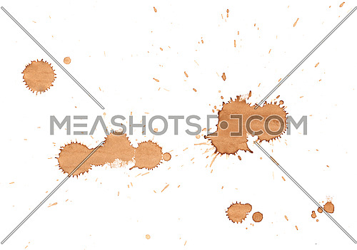 Brown coffee drop stains isolated on white background