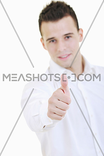 young business man showing ok sign with hand