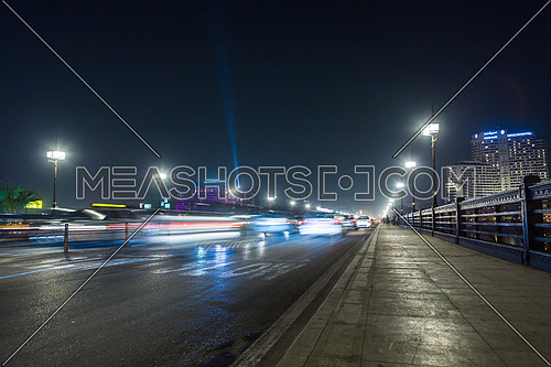Low angel Shot for Qasr Al Nile Bridge at Night