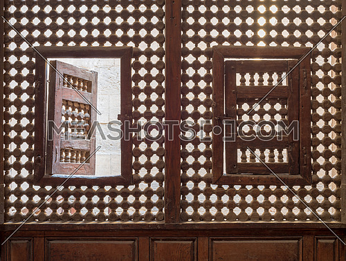 Wooden latticed window (Mashrabiya) with two small swinging sashes, Cairo, Egypt