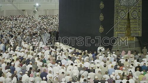 Muslim People at praying Kaaba for Pilgrimage.