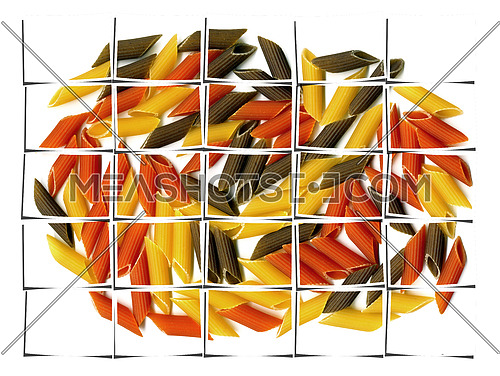 penne italian pasta on white background collage composition of multiple images over white