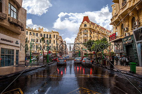 Talaat Harb Square during the rain in the winter of Cairo at day