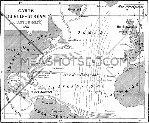 Map of Gulf Stream, vintage engraved illustration. Magasin Pittoresque (1882).