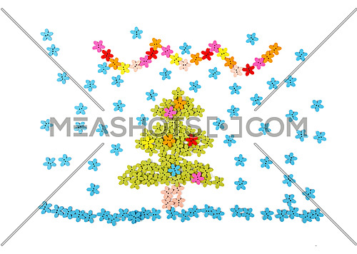Close up Christmas tree decoration collage of colorful multicolor handmade wooden sewing buttons on white background, elevated top view, directly above