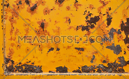 Grunge old yellow painted damaged rusty corroded yellow texture background with stains, defects, flakes and scales