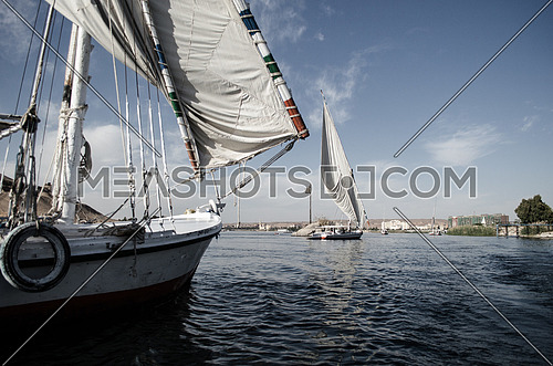 Traditional boats in the river - Aswan