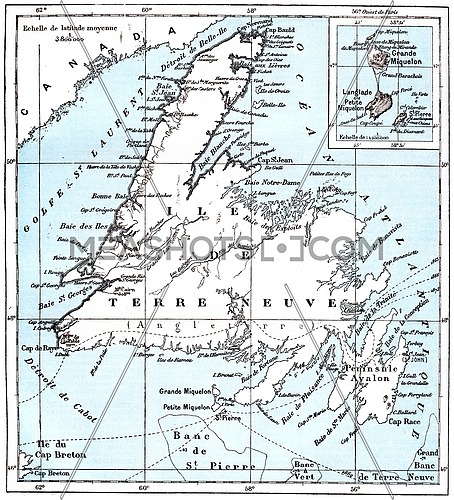 Map of Saint Pierre and Miquelon, vintage engraved illustration. Dictionary of words and things - Larive and Fleury - 1895.