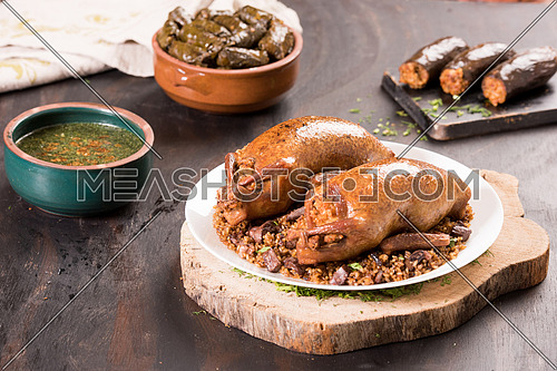 Oriental Roasted Hamam Meal with Mahshy and stuffed food