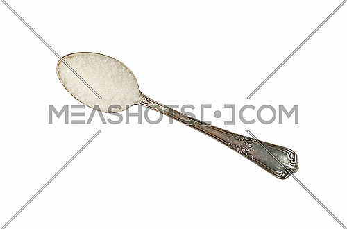 Close up one vintage metal spoon full of white sugar isolated on white background, elevated top view, directly above