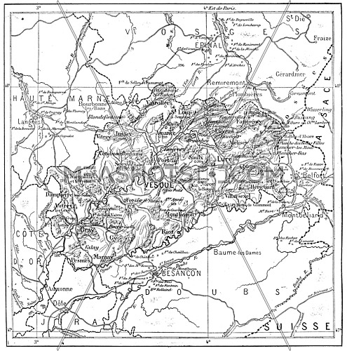 Old engraved illustration of map of Department of Haute-Saone. Dictionary of words and things - Larive and Fleury ? 1895