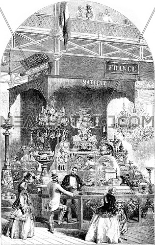 Crystal Palace, French exhibition of original subjects of bronze, vintage engraved illustration. Magasin Pittoresque 1852.