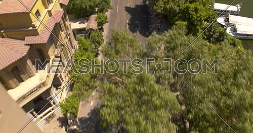 Tracking shot Drone for street beside the nile in Cairo Downtown at Day