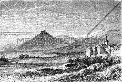 The castle of Landsberg and Werra, vintage engraved illustration. Le Tour du Monde, Travel Journal, (1872).