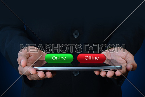 Business man with online and offline button