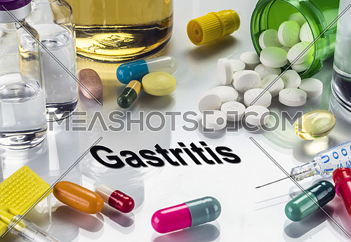 Gastritis, medicines as concept of ordinary treatment, conceptual image