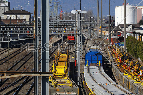 Freight trains at a freight station