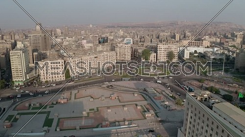 Aerial Shot Drone for The Egyptian Flag at al Tahrir Square.