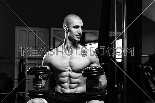 Portrait Of A Physically Fit Young Man In A Healthy Club With Dumbbells