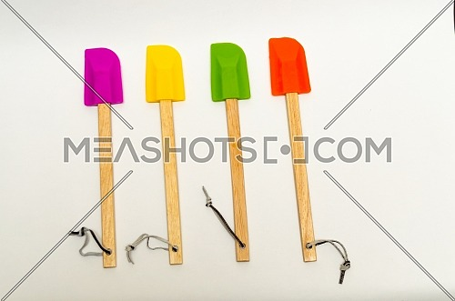 Silicone kitchenware ( silicone spatula ) set in 4 colors (orange , green , yellow and purple) with wooden handle