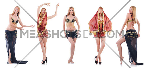 Set of photos with belly dancer on white