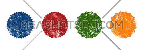 Close up for different colorful retro seal grunge stamp badge shapes isolated on white background