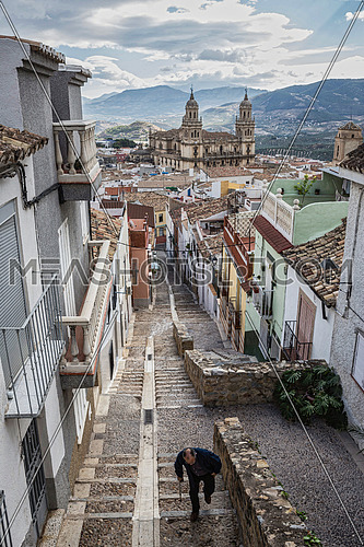 La Magdalena neighborhood located at the highest point of the city you can overlook the cathedral of Jaen, Andalusia, Spain