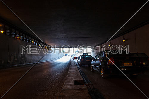 long Shot for traffic from inside  Al Thawra Tunnel at Daytime