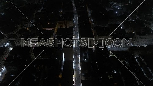 Jib Up shot flying over downtown showing Traffic  in Cairo - 1st MAY 2019 - at night