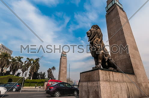 Zoom Out Low Angel for Qasr Al Nile Bridge's Lions at Day