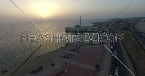 Reavel shot from drone for Al Rahma mosque in Cornish Jeddah at sunset