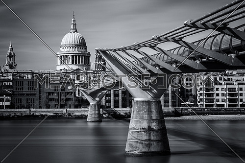 The Millennium bridge heading to St. Paul's Cathedral in london image taken on may 4th 2016