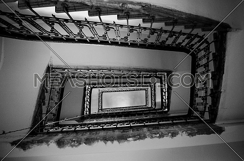 building stairway, stairs, in an abstract look, black and white
