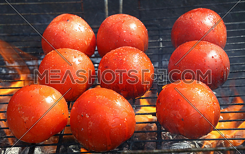 Red tomatoes cooked on fire barbecue grill with smoke and flame, close up, high angle view