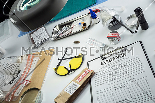 Evidence bag, Police scientific laboratory, conceptual image