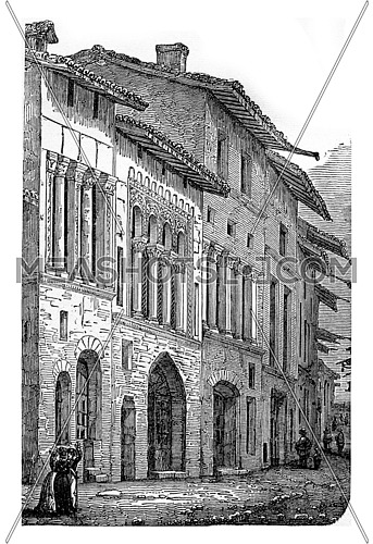 Romanesque houses (twelfth century) in one of the streets of Cluny, vintage engraved illustration. Industrial encyclopedia E.-O. Lami - 1875.