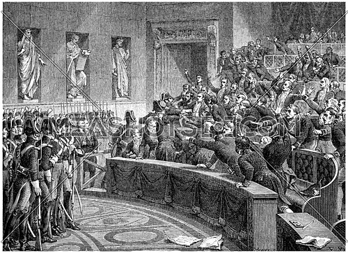Manuel expelled from the chamber, vintage engraved illustration. History of France – 1885