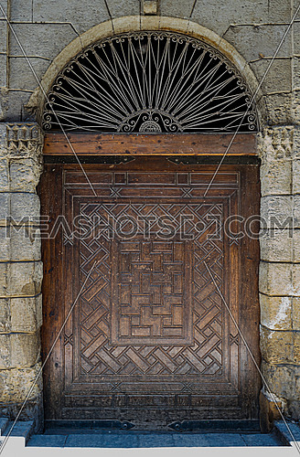 One of the doors of  Bayt Al-Suhaymi, an old Ottoman era house museum in Cairo, Egypt, built in 1648 by Abdel Wahab el Tablawy along the Darb al-Asfar, a very prestigious and expensive part of Medieval Cairo.