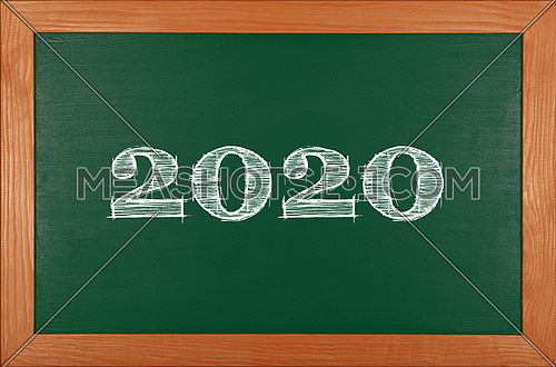 2020 chalk drawing over green school chalkboard blackboard sign in brown wooden frame