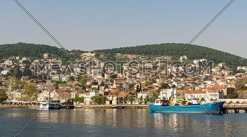 View of Heybeliada island from the sea with summer houses. the island is the second largest one of four islands named Princes' Islands in the Sea of Marmara, near Istanbul, Turkey