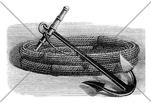 Balloon anchor, vintage engraved illustration. Magasin Pittoresque 1870.