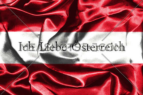 Austrian Flag With Text In German Meaning I Love Austria