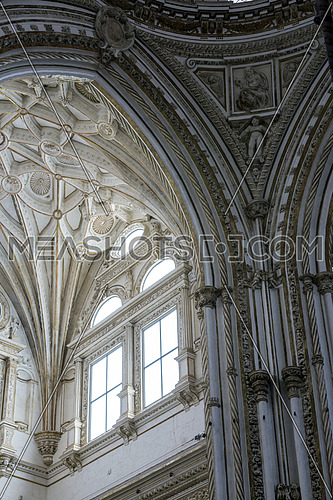 CORDOBA, SPAIN - September, 27, 2015: Interior of Mezquita-Catedral, Detail of roof of the Christian part of the Mezquita Cathedral of cordoba, UNESCO World Heritage Site, Cordoba, Spain